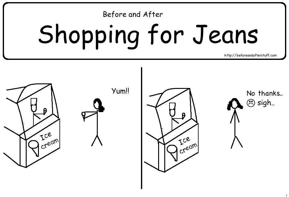 Before and After Shopping for Jeans