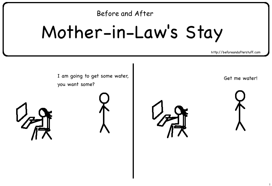 Before and After Mother-in-Laws Stay