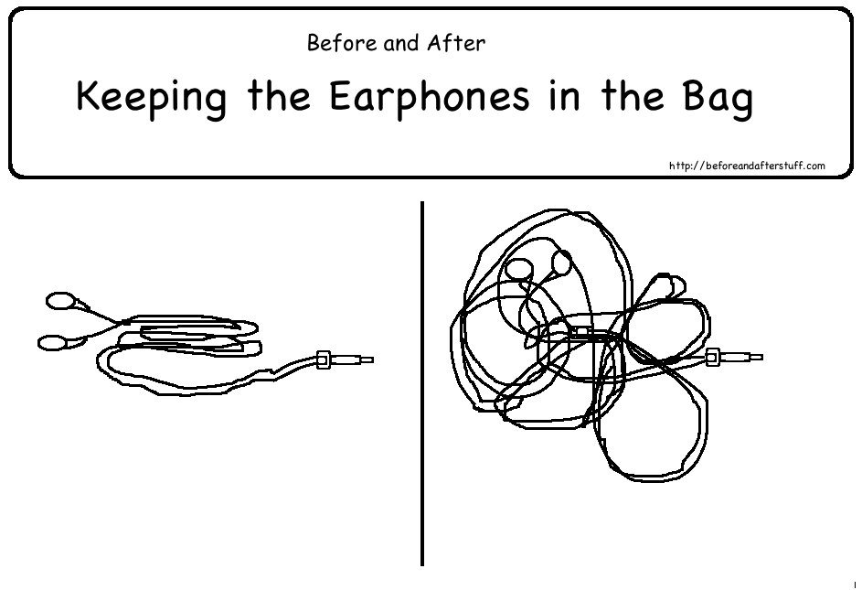 Before and After keeping the earphones in the bag