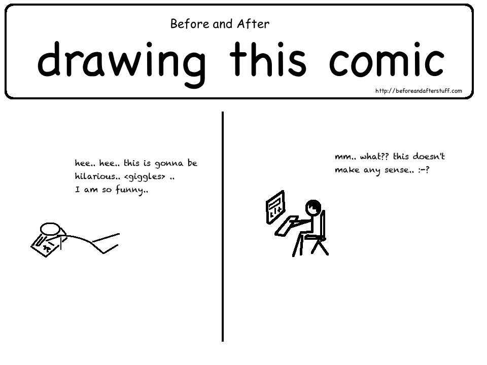 Before and After Drawing this Comic