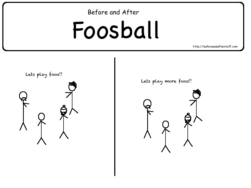 Before And After Foosball Web Comic