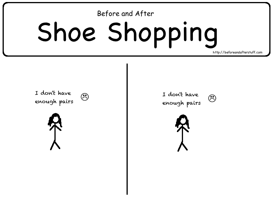 Girls Before and After shoe shopping